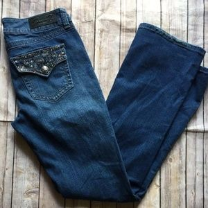 Seven7 Boot-Cut Jeans Flap Bling Pockets Size 8